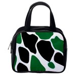 Green Black Digital Pattern Art Classic Handbags (One Side) Front