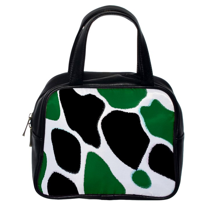 Green Black Digital Pattern Art Classic Handbags (One Side)