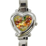 Indian Summer Funny Check Heart Italian Charm Watch Front