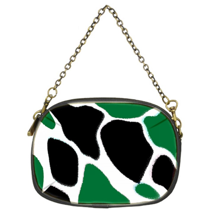 Green Black Digital Pattern Art Chain Purses (Two Sides)