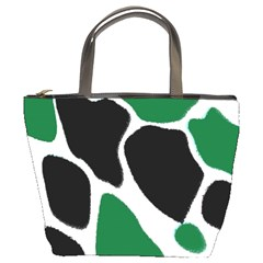 Green Black Digital Pattern Art Bucket Bags