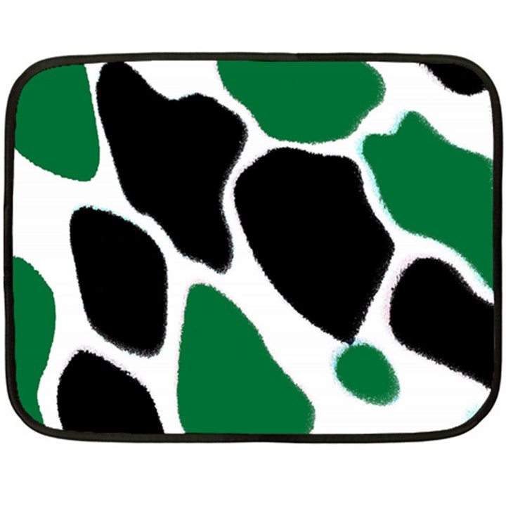 Green Black Digital Pattern Art Double Sided Fleece Blanket (Mini)