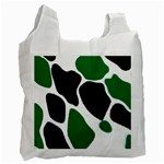 Green Black Digital Pattern Art Recycle Bag (Two Side)  Front