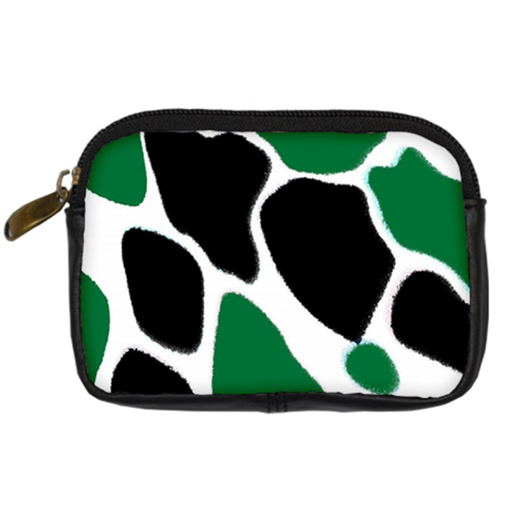 Green Black Digital Pattern Art Digital Camera Cases