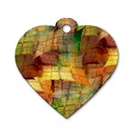 Indian Summer Funny Check Dog Tag Heart (One Side) Front