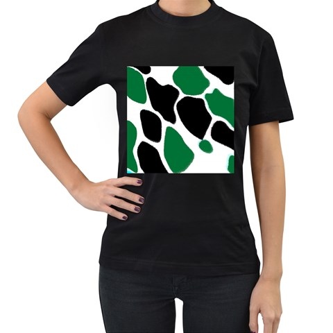 Green Black Digital Pattern Art Women s T-Shirt (Black)