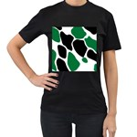 Green Black Digital Pattern Art Women s T-Shirt (Black) Front