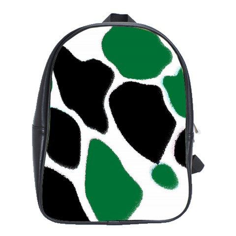 Green Black Digital Pattern Art School Bags(Large)