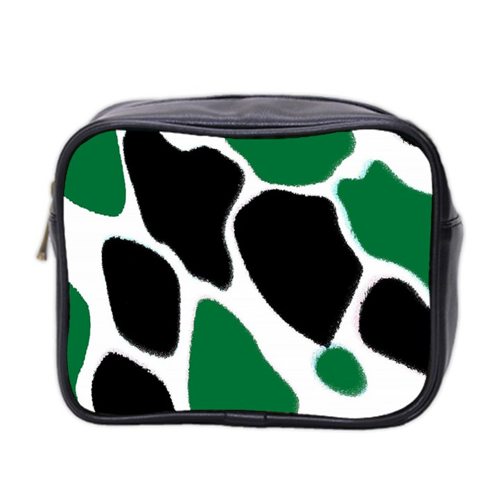 Green Black Digital Pattern Art Mini Toiletries Bag 2-Side