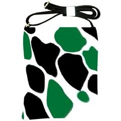 Green Black Digital Pattern Art Shoulder Sling Bags