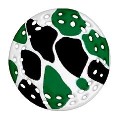 Green Black Digital Pattern Art Ornament (Round Filigree)