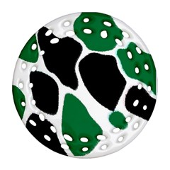 Green Black Digital Pattern Art Round Filigree Ornament (2Side)