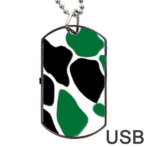 Green Black Digital Pattern Art Dog Tag USB Flash (One Side)