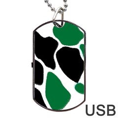 Green Black Digital Pattern Art Dog Tag USB Flash (One Side)