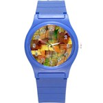 Indian Summer Funny Check Round Plastic Sport Watch (S) Front