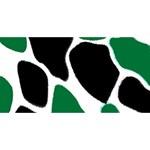 Green Black Digital Pattern Art Twin Hearts 3D Greeting Card (8x4) Front