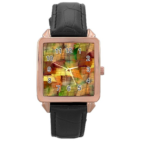 Indian Summer Funny Check Rose Gold Leather Watch