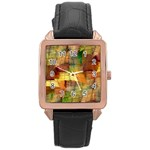 Indian Summer Funny Check Rose Gold Leather Watch  Front