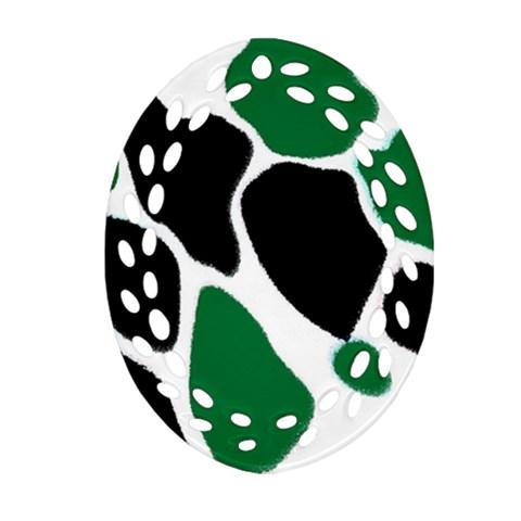 Green Black Digital Pattern Art Oval Filigree Ornament (2-Side)
