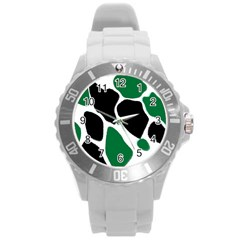 Green Black Digital Pattern Art Round Plastic Sport Watch (L)