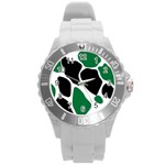 Green Black Digital Pattern Art Round Plastic Sport Watch (L) Front