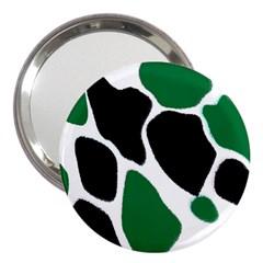 Green Black Digital Pattern Art 3  Handbag Mirrors