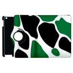 Green Black Digital Pattern Art Apple iPad 2 Flip 360 Case Front