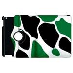 Green Black Digital Pattern Art Apple iPad 3/4 Flip 360 Case Front