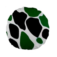 Green Black Digital Pattern Art Standard 15  Premium Round Cushions