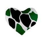 Green Black Digital Pattern Art Standard 16  Premium Heart Shape Cushions Front