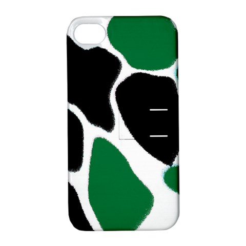 Green Black Digital Pattern Art Apple iPhone 4/4S Hardshell Case with Stand