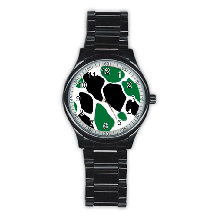 Green Black Digital Pattern Art Stainless Steel Round Watch