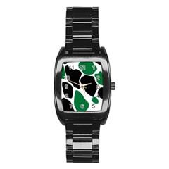 Green Black Digital Pattern Art Stainless Steel Barrel Watch
