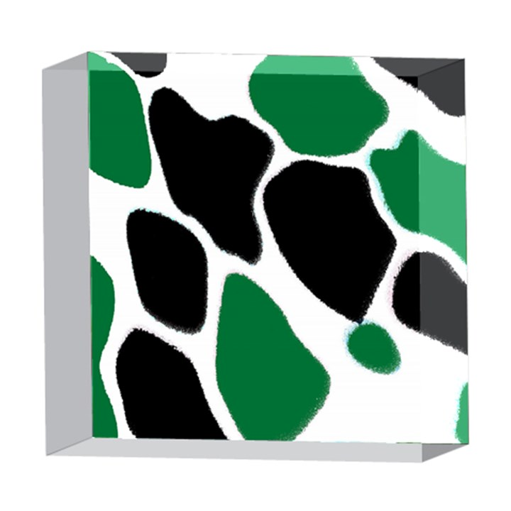 Green Black Digital Pattern Art 5  x 5  Acrylic Photo Blocks
