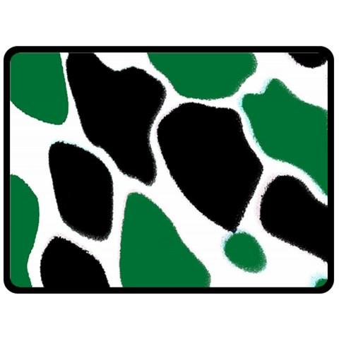 Green Black Digital Pattern Art Double Sided Fleece Blanket (Large)