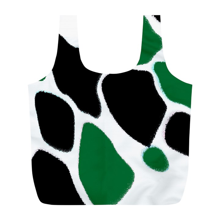 Green Black Digital Pattern Art Full Print Recycle Bags (L)