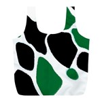 Green Black Digital Pattern Art Full Print Recycle Bags (L)  Back