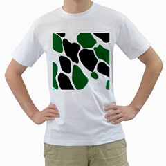 Green Black Digital Pattern Art Men s T-Shirt (White)