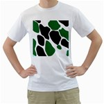 Green Black Digital Pattern Art Men s T-Shirt (White)  Front