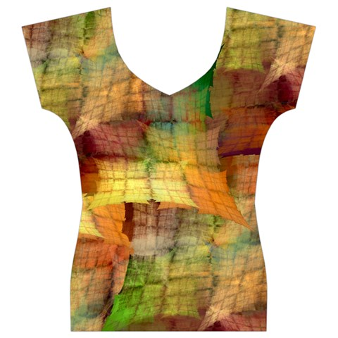 Indian Summer Funny Check Women s V-Neck Cap Sleeve Top