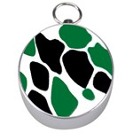 Green Black Digital Pattern Art Silver Compasses Front