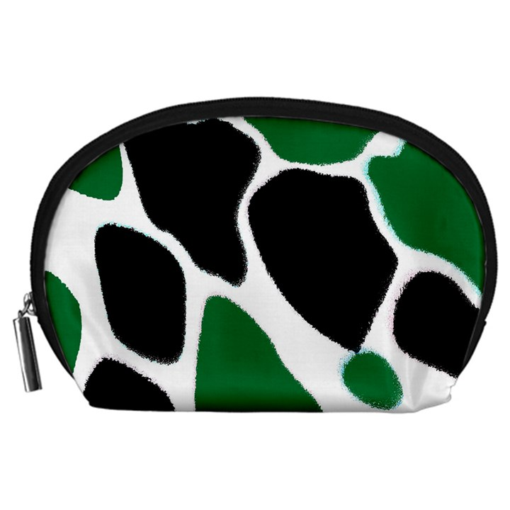 Green Black Digital Pattern Art Accessory Pouches (Large)