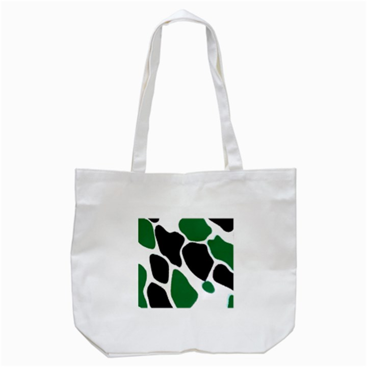 Green Black Digital Pattern Art Tote Bag (White)