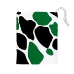 Green Black Digital Pattern Art Drawstring Pouches (Large)  Front