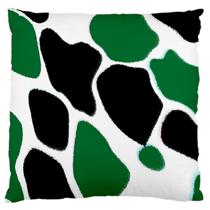 Green Black Digital Pattern Art Large Flano Cushion Case (Two Sides)