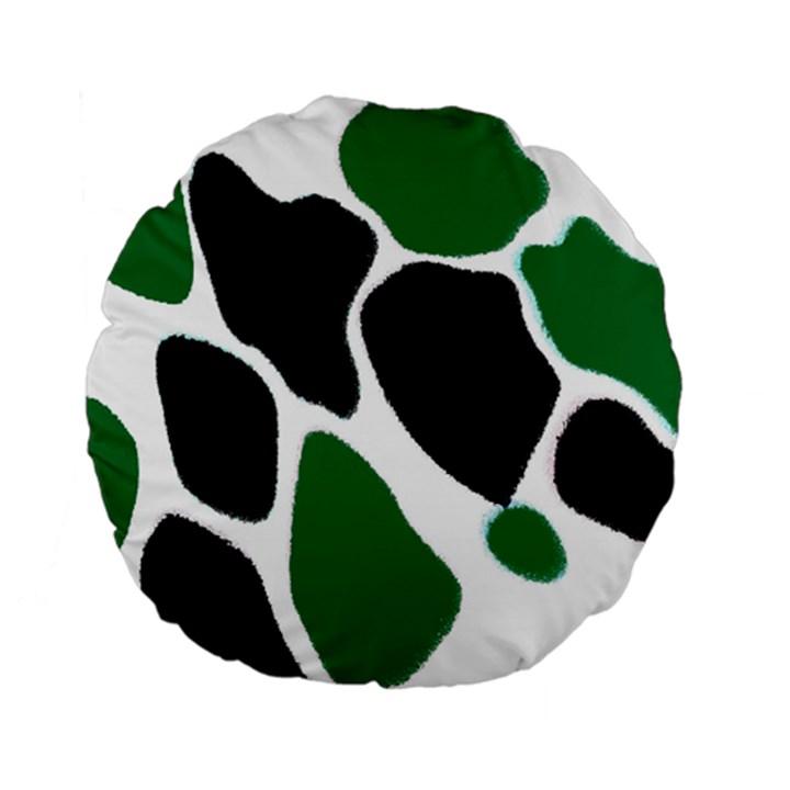 Green Black Digital Pattern Art Standard 15  Premium Flano Round Cushions