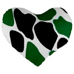 Green Black Digital Pattern Art Large 19  Premium Flano Heart Shape Cushions Front