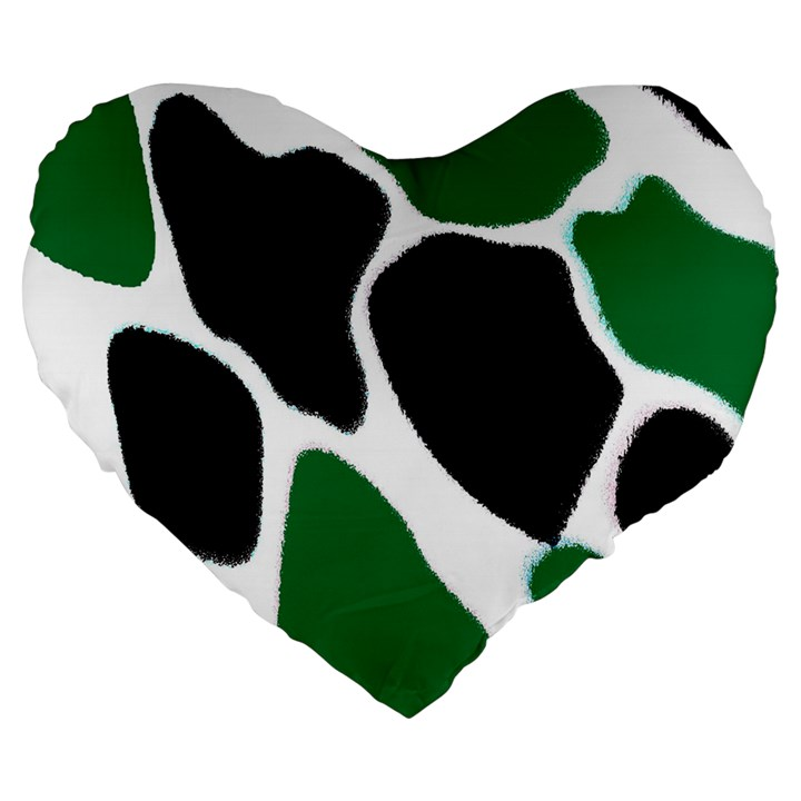 Green Black Digital Pattern Art Large 19  Premium Flano Heart Shape Cushions