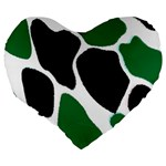 Green Black Digital Pattern Art Large 19  Premium Flano Heart Shape Cushions Back