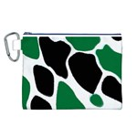 Green Black Digital Pattern Art Canvas Cosmetic Bag (L) Front